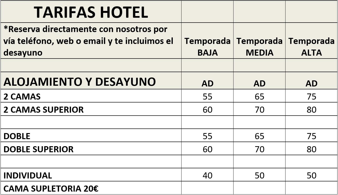 Tarifas Hotel el Salt